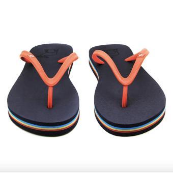 Sandal Panama / Sendal Wanita Navy Biru Tua Orange / Flipflop / Sandal Pantai