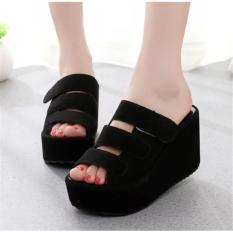 Sandal Sepatu Wanita Wedges EL059 Hitam