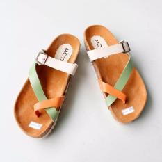 Sandal Wanita Footbed Tricolor ST05 - Hijau