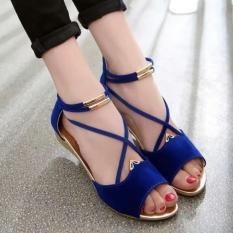 Sandal Wedges Wanita Biru