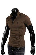 Sanwood Men's Summer Polo Slim Fit Short Sleeve T-Shirt Coffee L