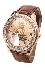 Sanwood Rhinestone Eiffel Tower Women's Brown Faux Leather Strap Watch