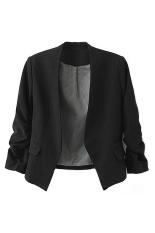 Sanwood Women's Solid Slim Suit Jacket - Hitam