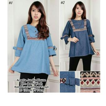 SB Collection Atasan Arnetta Jumbo Blouse Jeans-Biru Muda