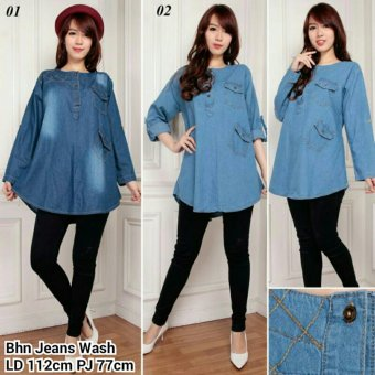 SB Collection Atasan Blouse Nina Kemeja Jeans-Biru Muda
