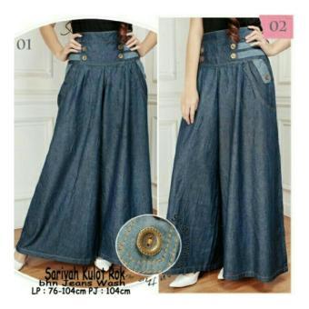 SB Collection Celana Kulot Rok Sarivah Jeans Jumbo Long Pant-Biru