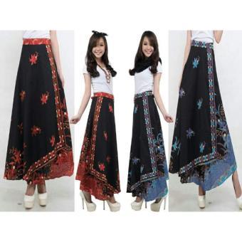 SB collection Rok Lilit Batik Asila Long Skirt-Hitam Bunga Orange