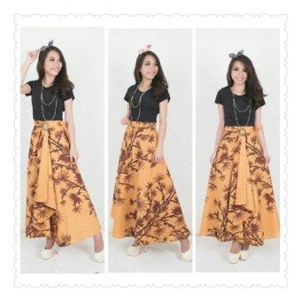 SB Collection Rok Maxi Lilit Payung Brown Bamboo Long Skirt Batik-Coklat