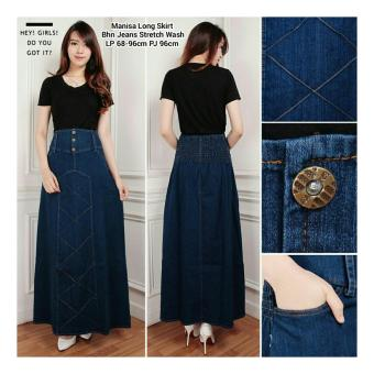 SB Collection Rok Maxi Manisa Jeans Long Skirt-Biru Tua