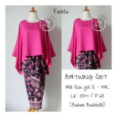 SB Collection Stelan Kebaya Batik Nicky Blouse Batwing Dan Rok Lilit Jumbo-Fanta