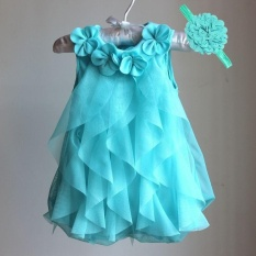 SDP Girls Dress 2017 Summer Chiffon Party Dress Infant 1 Year Birthday Dress Baby Girl Clothes Dresses (blue) - intl
