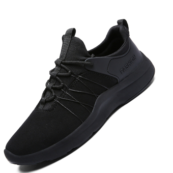 Seanut Men's Breathable Casual Sports Shoes Running Shoes (Black)