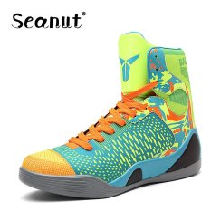Seanut Men Basketball Shoes High Top Breathable Flat Sneakers (Green) - intl