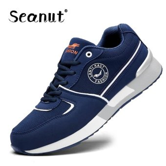 Seanut Men's Breathable Recreational Shoes Casual Lace up Sport shoes 39-47 (Blue)