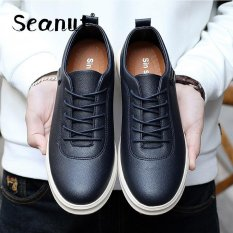 Seanut New Fashion Men's PU Leather Casual Men Shoes Formal Shoes (Blue) - Intl