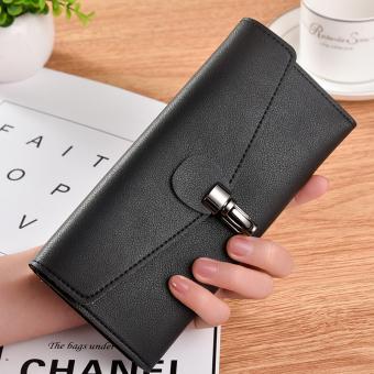 Sederhana perempuan tiga kali lipat gesper dompet merek tas (Hitam tiga kali lipat)