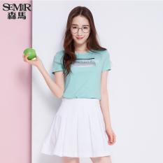 Semir 2016 Summer New Women Korean Casual Letter Cotton Crew Neck Short Sleeve T-Shirts (Green)