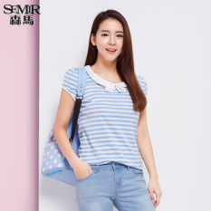 Semir Summer New Women Korean Casual Stripe Cotton Crew Neck Short Sleeve T-Shirts (Lake Blue) - Intl