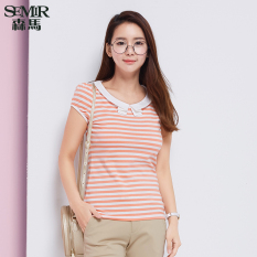 Semir Summer New Women Korean Casual Stripe Cotton Crew Neck Short Sleeve T-Shirts (Red) - Intl