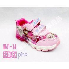 Sepatu Anak Import Karakter Frozen Led – B909-Pink Muda