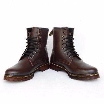 Sepatu Boots Pria Docmart Dr Martens 8 Lubang / hole - KULIT [Coklat]