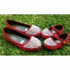 Sepatu Couple Payet Merah sepatu cantik couple mom and kids sepatu murah