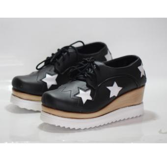 sepatu fashion pu star black