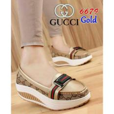 Sepatu Kets Wedges Guci Fashion Gold - Best Seller