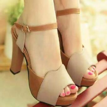 Sepatu Sandal High Heels Wanita HJ10 - Cream