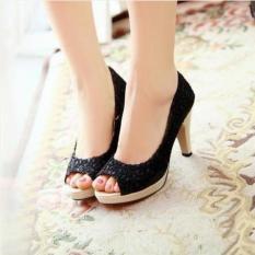 Sepatu Sandal High Heels Wanita Pantofel Brukat SDH28 Hitam