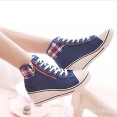 Sepatu Sandal Wedges Boots Wanita DS403 - Dongker - Best Seller