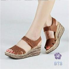 Sepatu Sandal Wedges Wanita Strape Cutting Laser Hak 6cm Coklat - Biago BS
