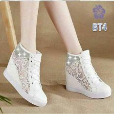 Sepatu Sneakers Wedges Wanita Brukat Ukir Batik Putih - Brizo BT4