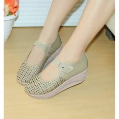 Sepatu Wanita Murah - Wedges Laser Sintetis Cream NFZ-805