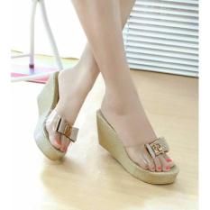 Sepatu Wanita Murah - Wedges Pita Glitter Gold