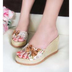Sepatu Wanita Murah - Wedges Selop Bunga Coklat NFZ07