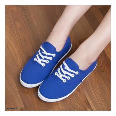 Sepatu Wanita Slip On Sneakers Hwb22 Blue