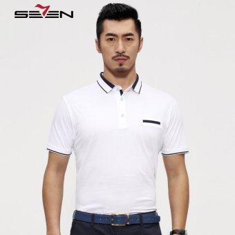 Seven Brand 100% Cotton Men Solid Color Polo Short Sleeve T Shirts White