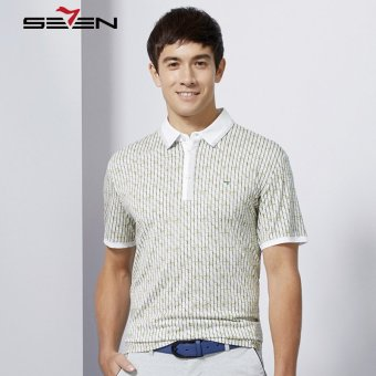 Seven Brand Men Plaid Summer Polo Shirt Casual Business Blue