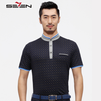 Seven brand stretch men letter polo shirt China stand collar casual top dark blue - Intl