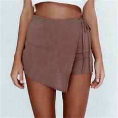 Sexy Hot Pants Summer Casual Shorts Beach High Waist Dress Shorts Fashion Women Brown - Intl
