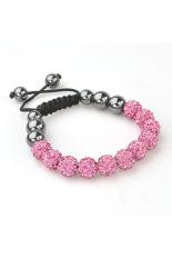 Shamballa Bracelet Adjustable Beads Bracelet - Light Pink