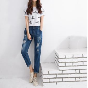 d68ed227fe SheIn Women Summer Pants Casual Trousers For Ladies Blue Ripped Mid Waist  Drawstring Skinny Denim Calf