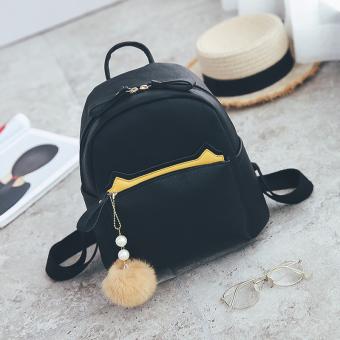 Shishang kulit lembut perempuan baru tas bahu tas ransel (Hitam)