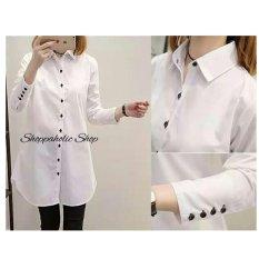 Shoppaholic Shop Kemeja Tunik Aqua Button - Putih