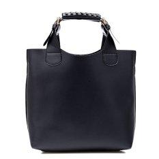 Simple Portable Shoulder Bag PU Leather Women Bag Black (Intl)
