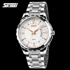 SKMEI Escape - Jam Tangan Pria - Putih Emas - Rantai Stainless - 9069 White Gold Edition