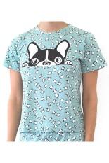 Sook Woman T-Shirt (Print Kepala Anjing) - Sea Green