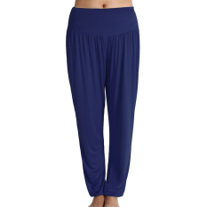 Sports Women Casual Sports Leisure Yoga Bloomers Harem Pants Solid Slacks Long Loose Trousers (Navy Blue) (Intl) - Intl