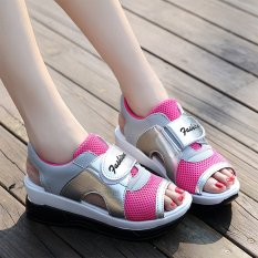 Sporty Magic Buckle Sandals _Silver + Pink (Intl)